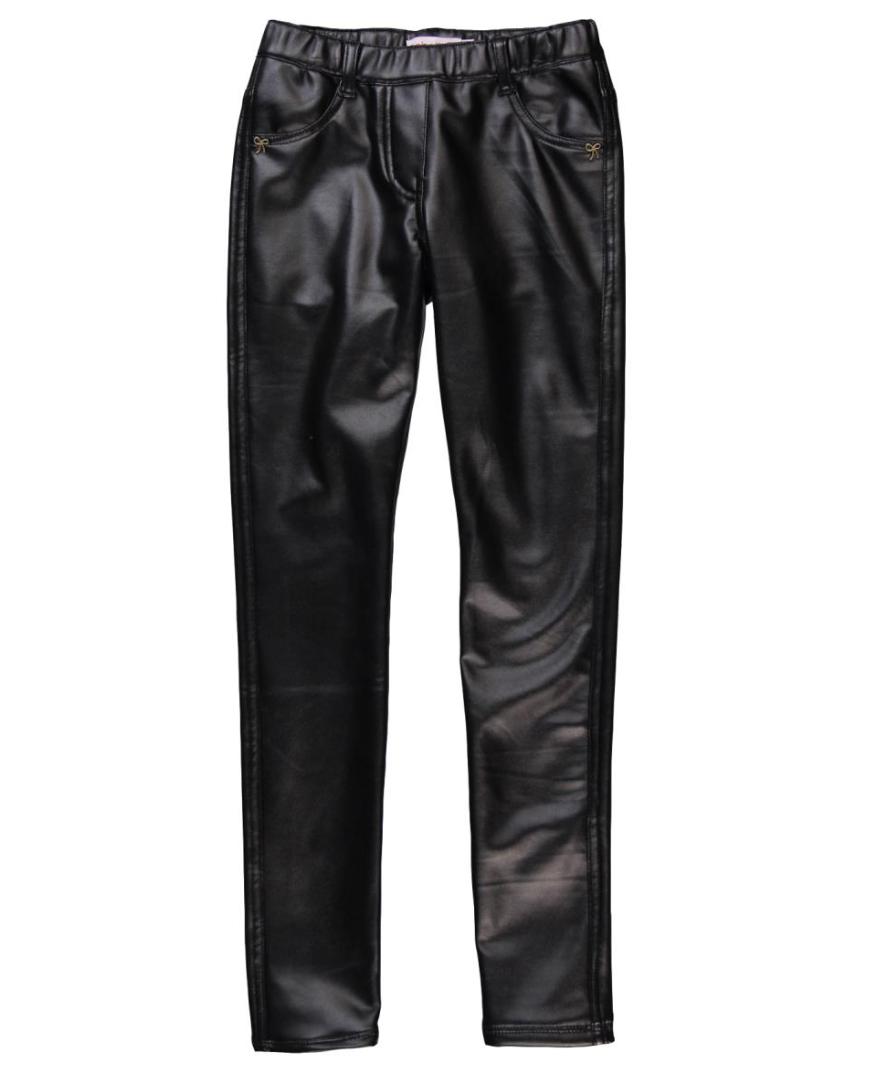 Poważne → Czarne ocieplane legginsy z eko skóry Boboli dla dziewczynki IA59